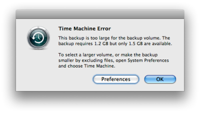 This backup is too large for the backup volume... error message