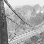 Suspension Bridge in the Snow
