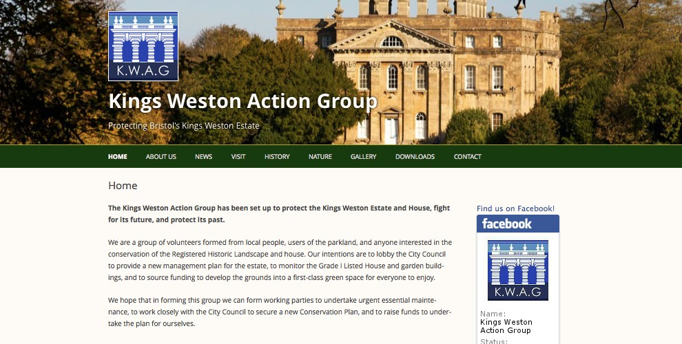 Screenshot of Kings Weston Action Group website