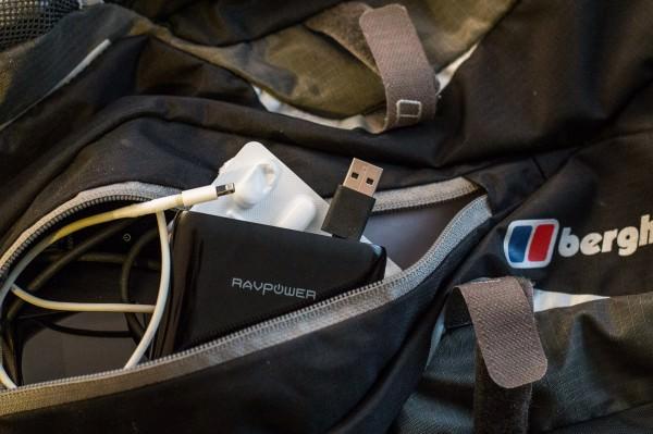 RAVPower FileHub in backpack
