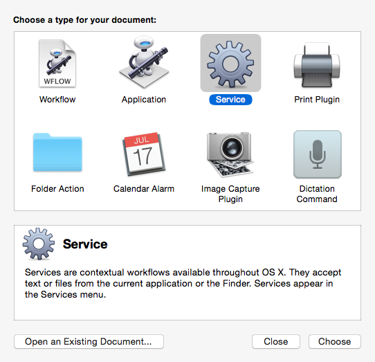 Automator New Document Panel
