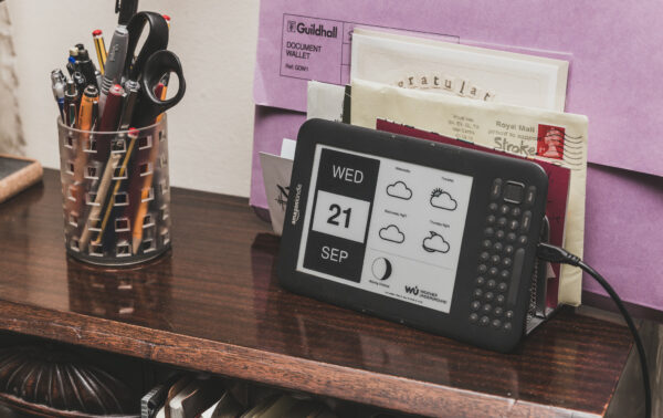 Kindle Desk Calendar on the actual desk