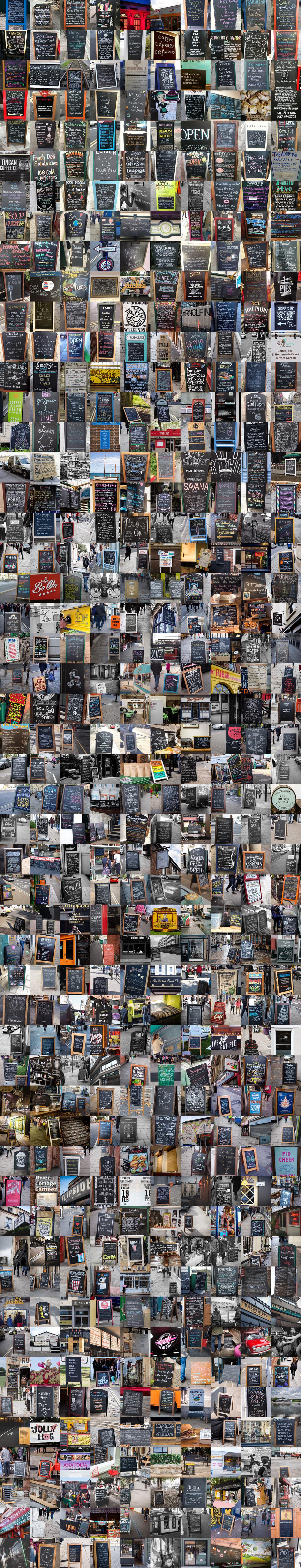 Many, many cafe signs.