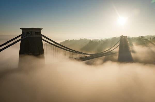Clifton Suspension Bridge, swathed in fog