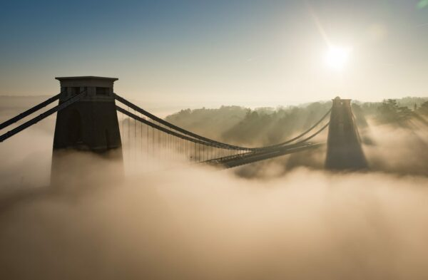 Clifton Suspension Bridge in fog.