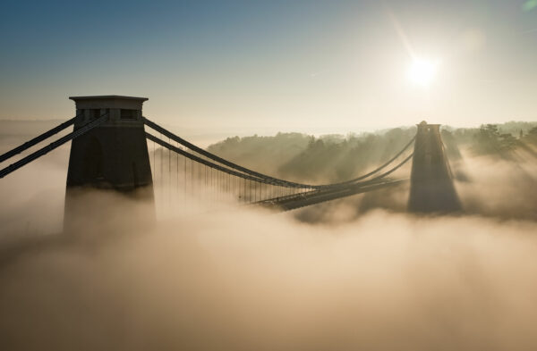 Clifton Suspension Bridge, swathed in fog