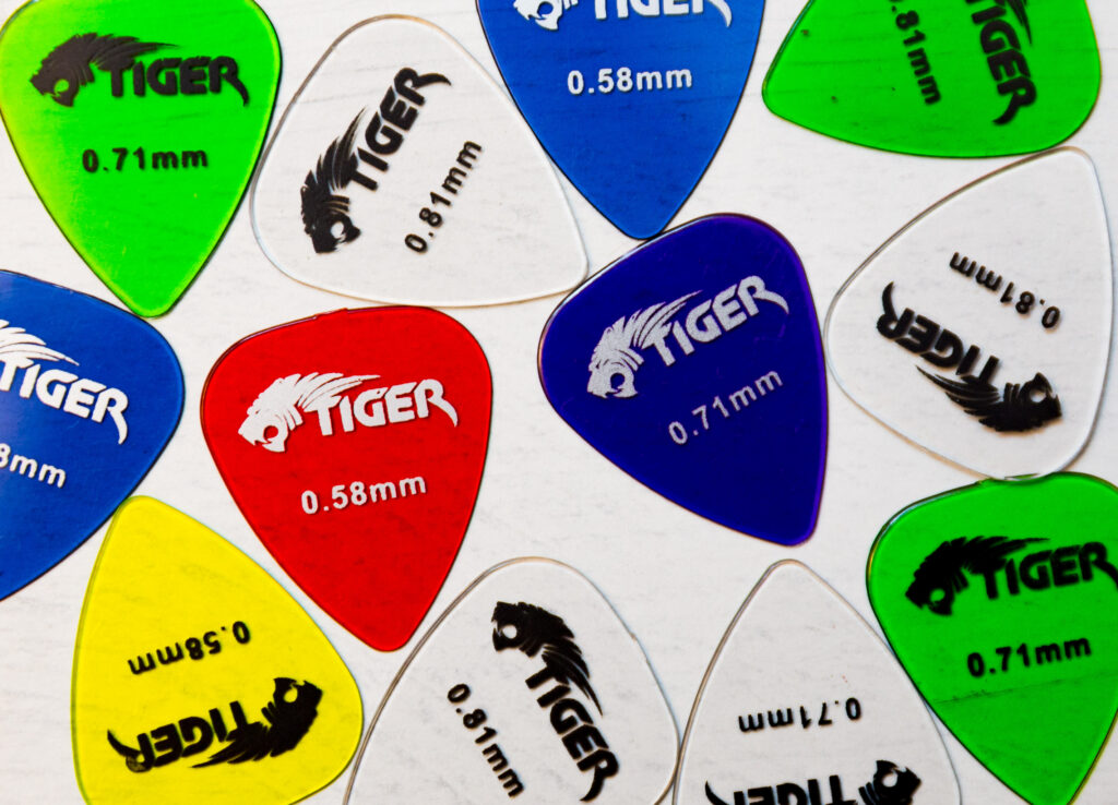 Colourful guitar plectra
