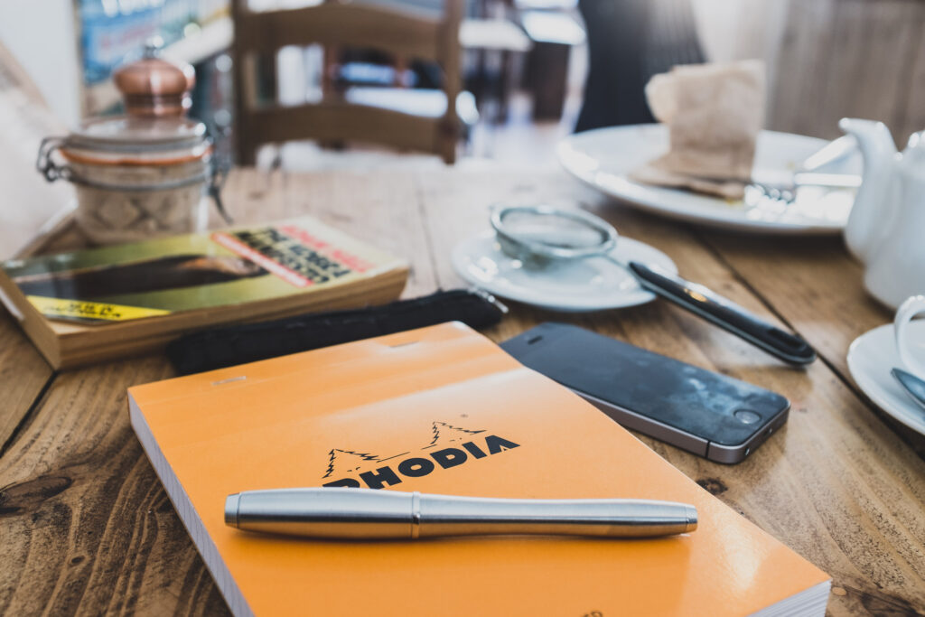Rhodia pad on cafe table