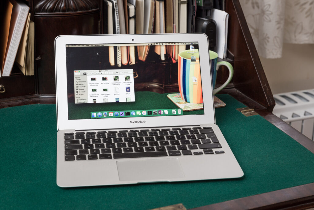MacBook Air, with somewhat spooky screen