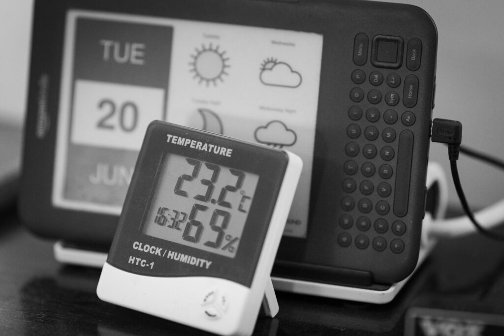 Thermometer showing 23.2C