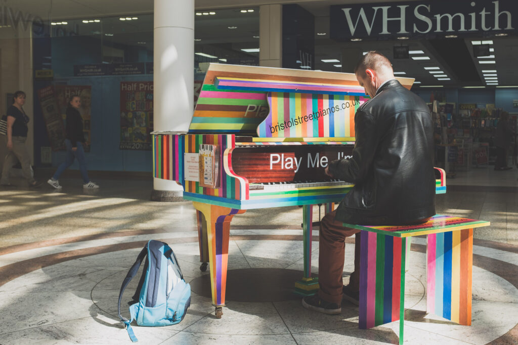 "One of Luke Jerram's ""Play Me, I'm Yours"" pianos"