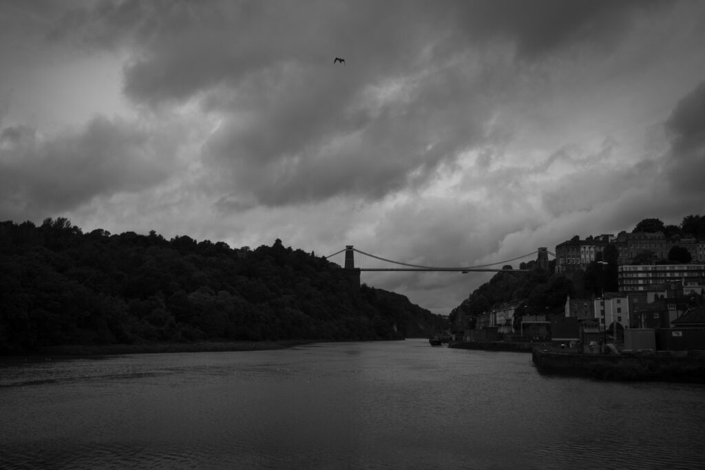 Gloomy suspension bridge