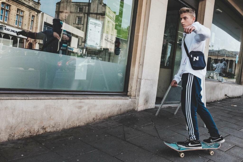 Skateboarder outside Waitrose