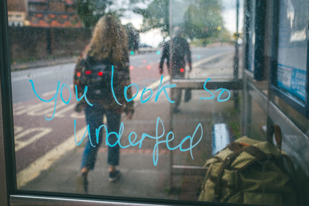 Bus stop graffito