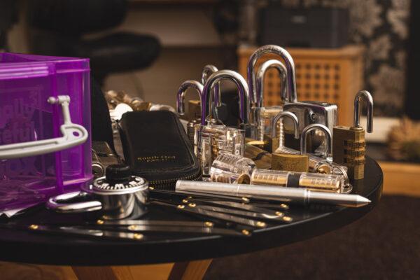 Padlocks and lock-picking tools.
