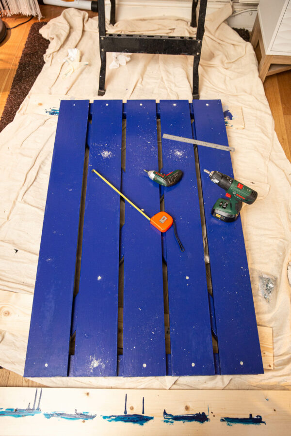 Facing planks painted and attached