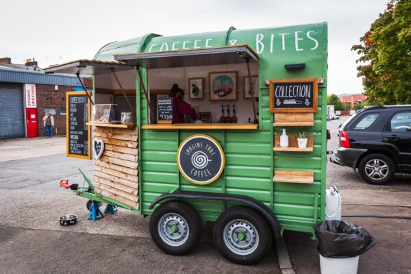 Horsebox converted into a mobile coffee stall by Imagine That Coffee, at Bristol Marina