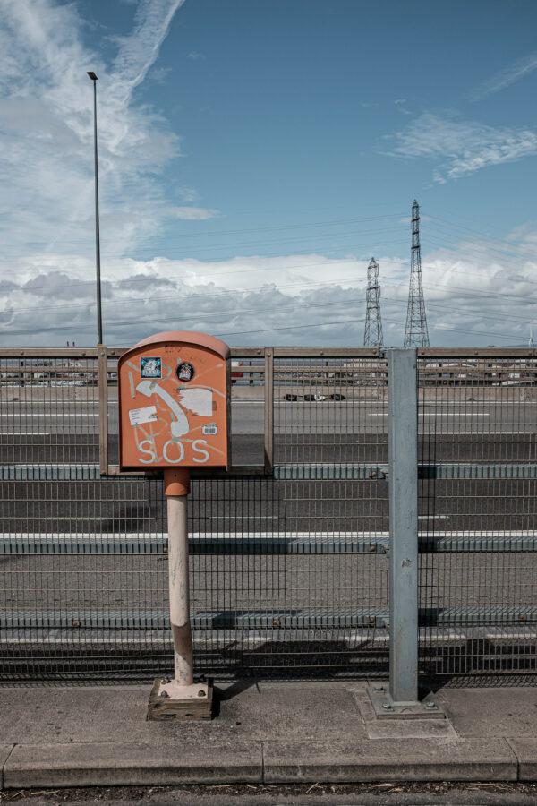 Emergency telephone on road bridge