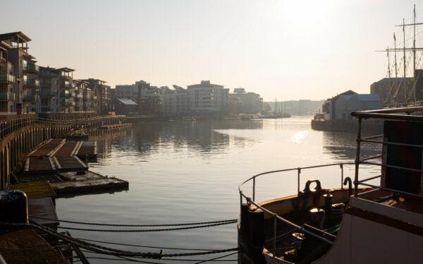A misty morning on Bristol harbourside